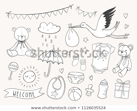 cartoon baby boy items collection stock photo © balasoiu