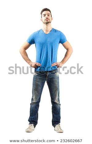 casual man with hand on hip and on head stock photo © feedough