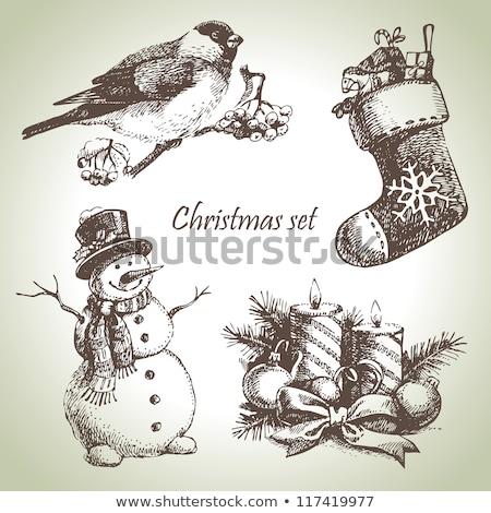 christmas card for xmas design with hand drawn snowmen stock photo © elmiko