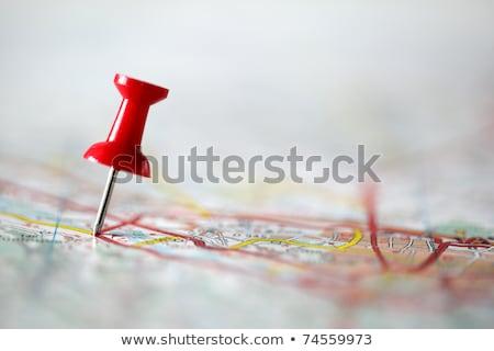 úticél · térkép · lökés · tő · piros · mutat - stock fotó © Anterovium