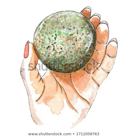 Hand holding stone ball stock photo © deyangeorgiev