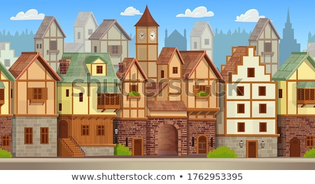 kasteel · middeleeuwse · stad · hemel · stad · gebouwen - stockfoto © cosma