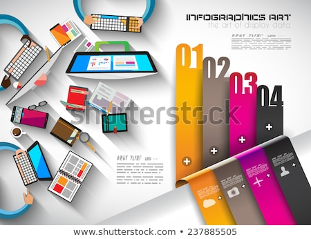 Infographic template with flat UI icons for ttem ranking Stock photo © DavidArts