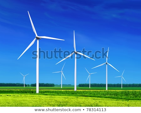 green meadow with Wind turbines generating electricity  Stock photo © meinzahn