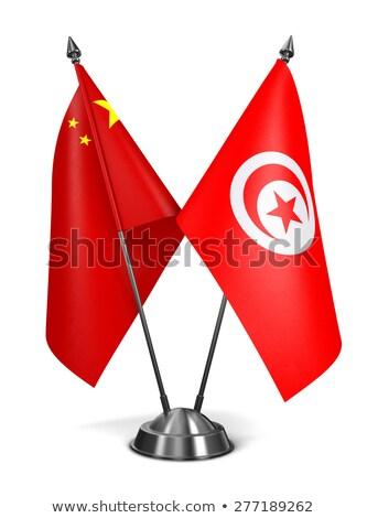China Tunísia miniatura bandeiras isolado branco Foto stock © tashatuvango