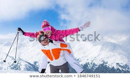 Dois brasão neve bonitinho esquiador loiro Foto stock © dash