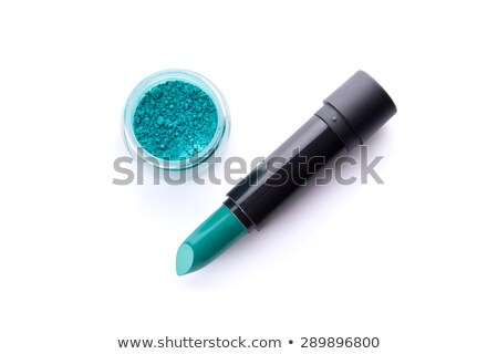 set of two lipsticks and eye shadow in teal green color stock photo © elisanth