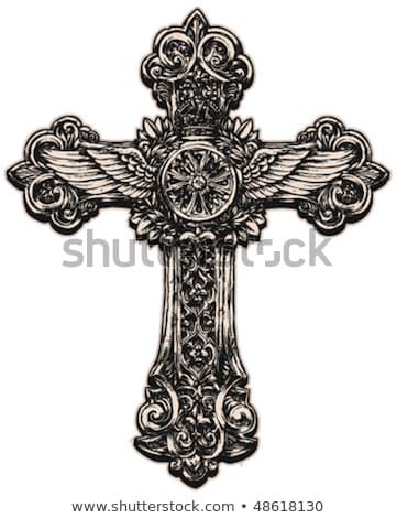 faith cross wings icon stock photo © djdarkflower