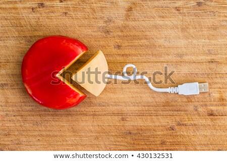 Twórczej ser koła obrane kwartał klin Zdjęcia stock © ozgur