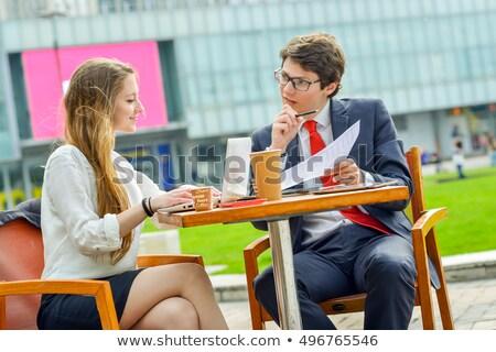 Stock fotó: Eladó · csapat · kint · asztal · fiatal · igazgató