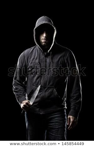 Kapucnis férfi kés sötét fekete személy Stock fotó © sqback