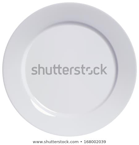 Fehér vacsora tányér üres porcelán tiszta Stock fotó © Digifoodstock