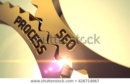 Seite Optimierung golden Zahnräder Mechanismus cog Stock foto © tashatuvango