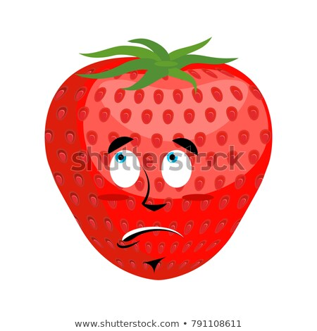 Strawberry Surprised Emoji. Red berry astonished emotion isolate Stock photo © popaukropa