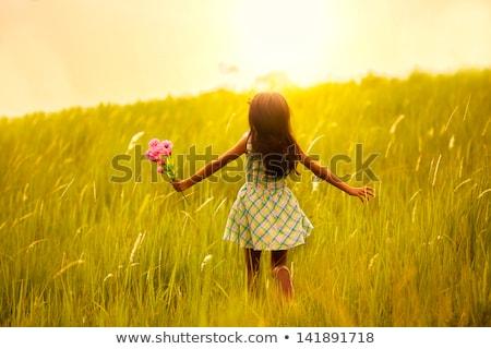 Mädchen posiert Bereich Sonnenuntergang schönen Stock foto © prg0383
