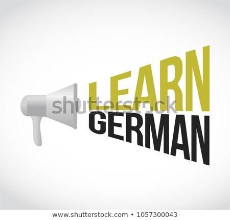 Aprender alto-falante mensagem assinar ilustração projeto Foto stock © alexmillos