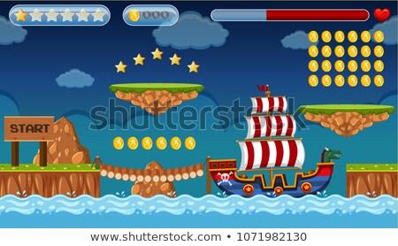 ストックフォト: ジャンプ · ゲーム · テンプレート · 島 · シーン · 実例