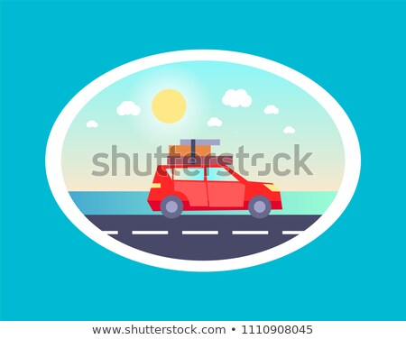 Sedan Car Luggages Top Going Holiday Rest Vector Stock photo © robuart