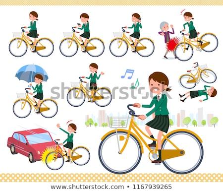 Schoolmeisje groene stad fiets ingesteld Stockfoto © toyotoyo