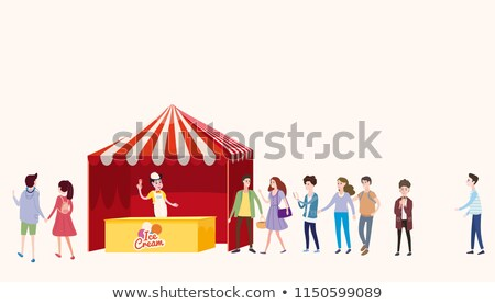 Street Ice Cream Cart with Vendor and Customers Stock photo © robuart
