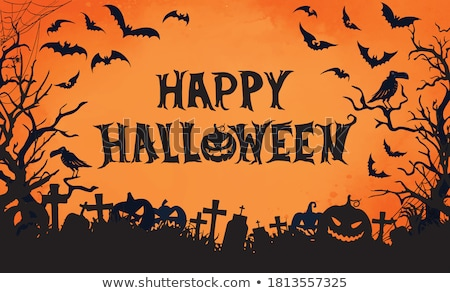Halloween Sale banner illustration with moon, crow and flying bats on orange night sky background. V Stock photo © articular