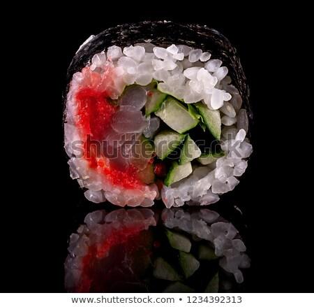 Szusi zsemle fekete tükröződés japán rizs Stock fotó © Cipariss