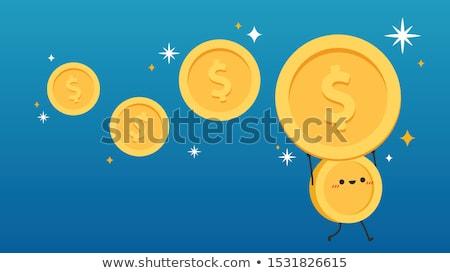 Stockfoto: Mascotte · valuta · pond · illustratie · Blauw · presenteren