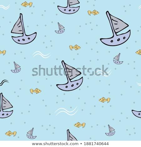 Kinderen roeien papier boot illustratie meisje Stockfoto © colematt