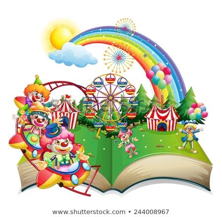 cirkusz · illusztráció · rajz · kék · ég · nyár · zászló - stock fotó © colematt