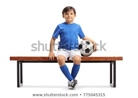 男の子 座って サッカー サッカー 木製 ベンチ ストックフォト © matimix