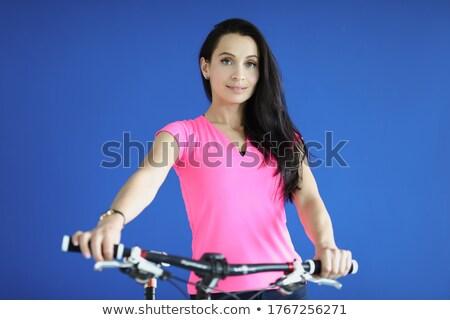 Portrait charmant dame vélo femme ciel Photo stock © majdansky