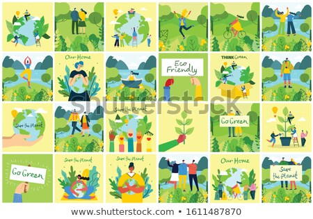 Foto stock: Alternative Eco Plants Stamp