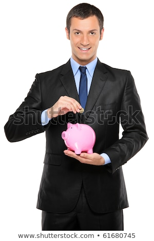 Smiling man holding a pottery money box Stock photo © Giulio_Fornasar