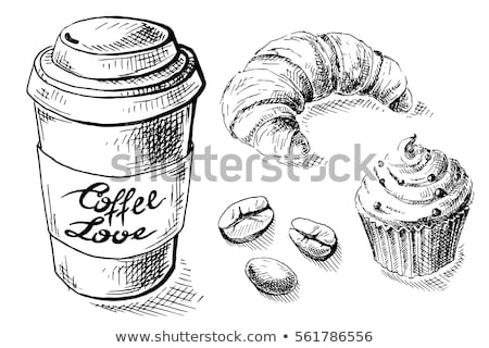 Foto stock: Paper Coffee Cup And Croissant Breakfast Vector Illustration
