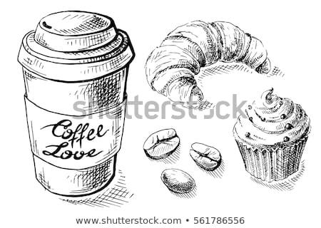 Papieru filiżankę kawy rogalik śniadanie wektora ilustracja Zdjęcia stock © cidepix