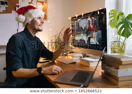 Noel ev ofis büro klavye altın süslemeleri Stok fotoğraf © neirfy