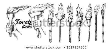 Lampe de poche brûlant ensemble monochrome vecteur Photo stock © pikepicture