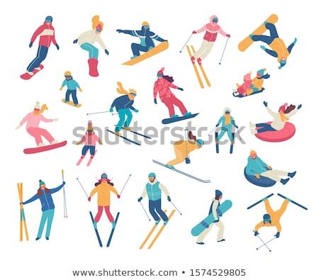 Desenho animado esquiador homem ilustração isolado branco Foto stock © tiKkraf69