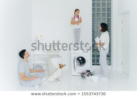 Fotó férj feleség kutya lánygyermek házimunka Stock fotó © vkstudio