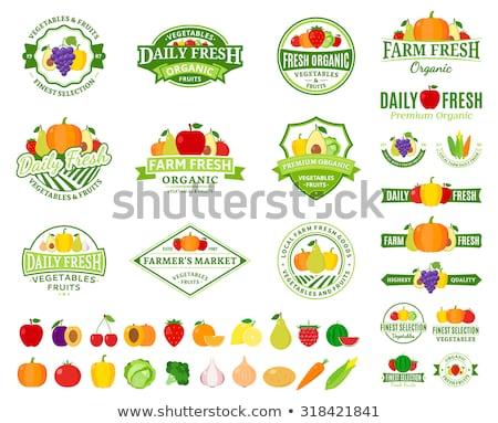 набор фрукты Этикетки дизайна зеленый фермы Сток-фото © kariiika