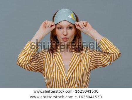 Bella lentigginoso zenzero donna strisce labbra Foto d'archivio © vkstudio