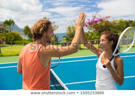Fitness sport tennis paar high five energiek Stockfoto © Maridav