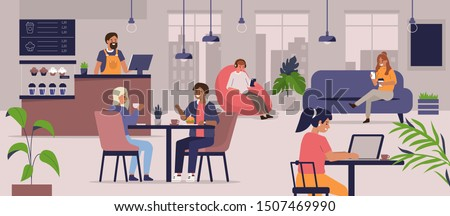Business Lunch with Laptop in Coffeehouse Vector Stock photo © robuart