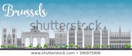 Bruselas horizonte gris edificio cielo azul casa Foto stock © ShustrikS