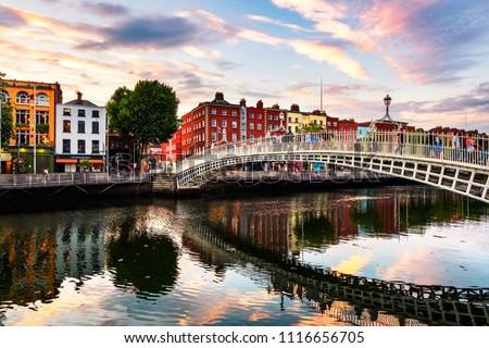 Utca Dublin Írország tipikus házak égbolt Stock fotó © borisb17