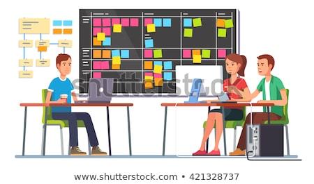 Férfi munka laptop tábla jegyzetek feladatok Stock fotó © robuart