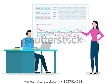 Woman Explain Schema to Worker on Appointment Stock photo © robuart