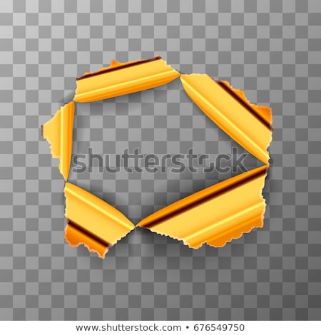 Torn hole in glossy gold metal plate on transparent background Stock photo © evgeny89