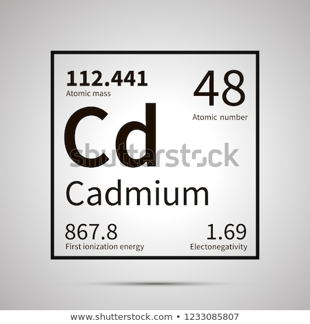Cadmium chemical element with first ionization energy, atomic mass and electronegativity values ,sim Stock photo © evgeny89