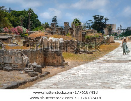 Woman Walking along Ruins Of Tyre Stock photo © Anna_Om